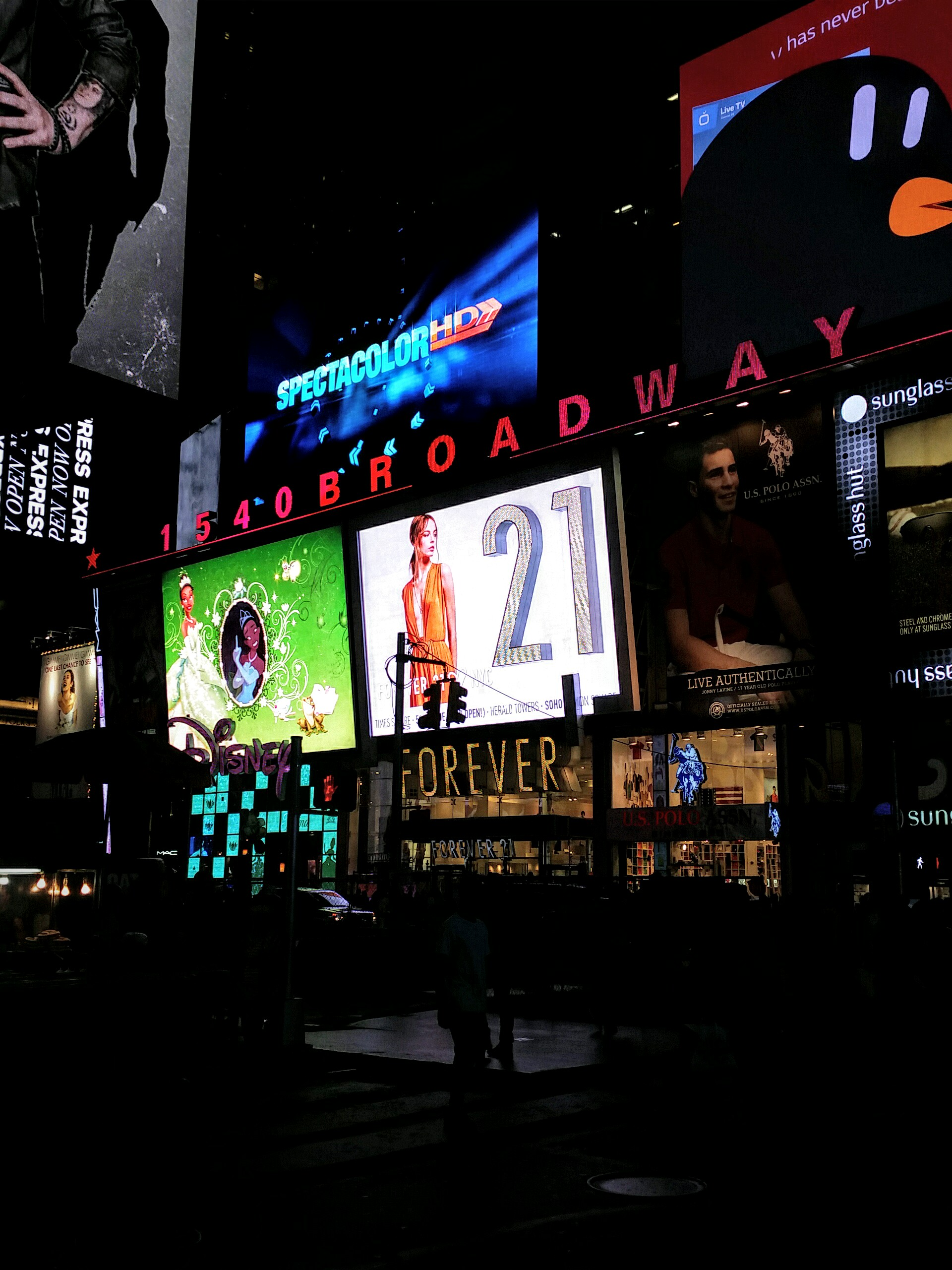 Times Square at night.